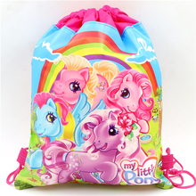 Baby Shower Gift Bags Kids Favors Birthday Party Decoration Drawstring Supplies My Little Pony Non-Woven Fabric Backpack 34*27cm