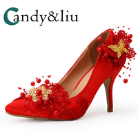 Women Red Pointed Toe Wedding Dress Shoes Gold Butterfly Beaded Embroidered Satin Fabric Pumps for Bride High Heel Sleep On