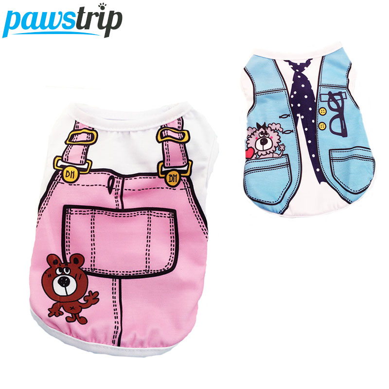 4 Colors Pet Spring Summer Dog Clothes Puppy Vest Cartoon Print Dog T Shirts For Yorkies XS-XXL