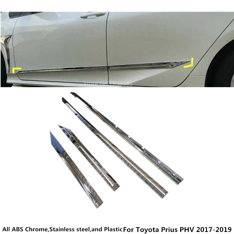 Car Stickers Precise For Toyota Prius Phv 2017 2018 2019 Car Styling Cover Detector Stainless Side Bottom Door Trim Frame Stick Strip Molding 4pcs Fine Workmanship