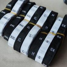 1000 шт, XS-3XL, черный/белый, размер одежды, этикетка, одежда, тканые, размер, бирки, вышитые, размер, этикетки, LB-020