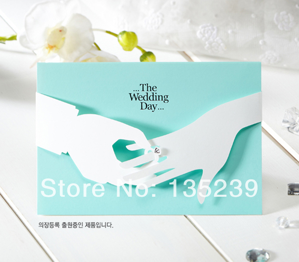 Free Shipping, 50PCS/lot ,New design bule and white wedding invitations card,all for wedding