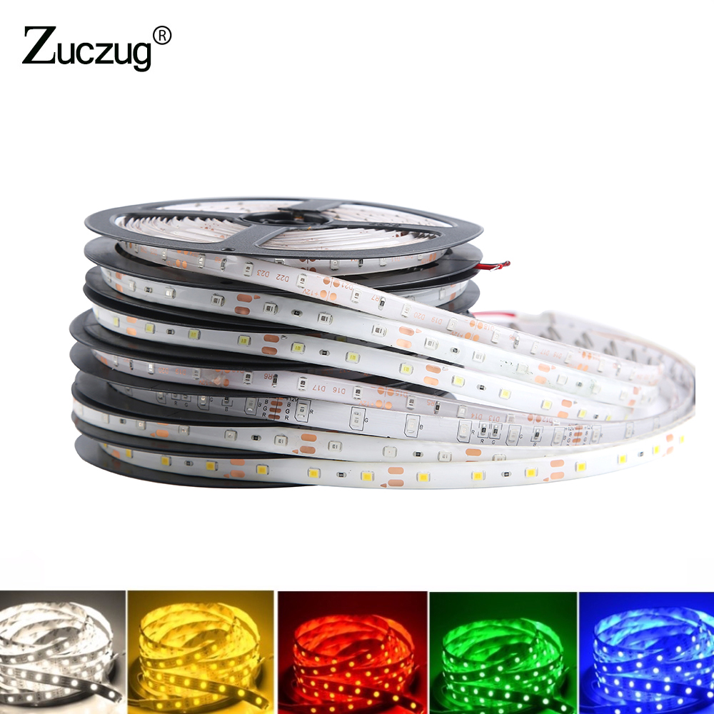 DC 12 V Volt Led Strip Back Light Tape 2835 RGB 5M Waterproof 12V DC 60LED/M RGB Led Light Lamp Diode Tape TV Backlight Colorful
