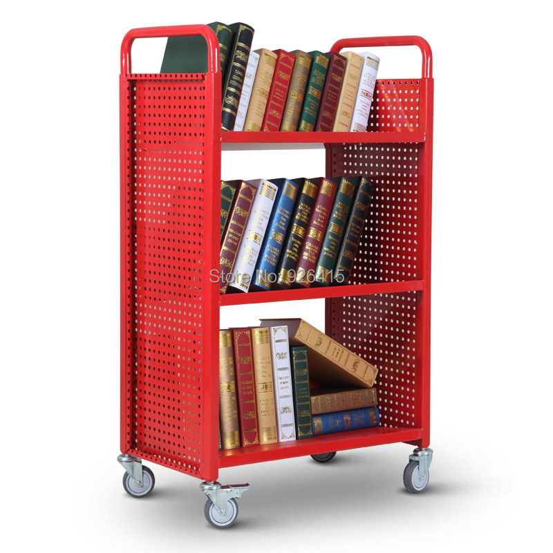 New Mobile Library Bookshelf Bookcase Three Shelf Steel Book Cart With Wheels Office Archives Trolley Rca 3s Lib11 In Furniture From On