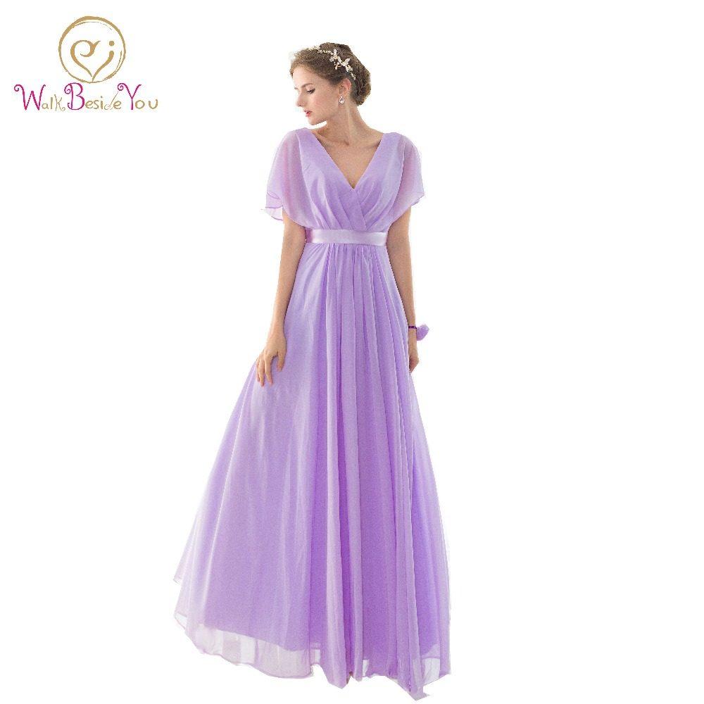 Tienda Online 100% Real Pictures vestidos de dama Lila larga sin ...