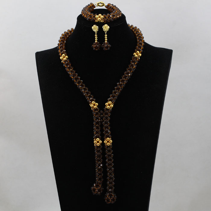 Luxury Women Wedding Beads Champagne Gold Crystal African Jewelry Set Pendant Necklace Bridal Jewelry Sets Free Shipping ABL379