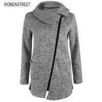 Phụ nữ Mùa Thu Mùa Đông Quần Áo Ấm Áo Khoác Lông Cừu Slant Zipper Có Cổ Coat Casual Quần Áo Khoác Tops Nữ Áo Nỉ Áo