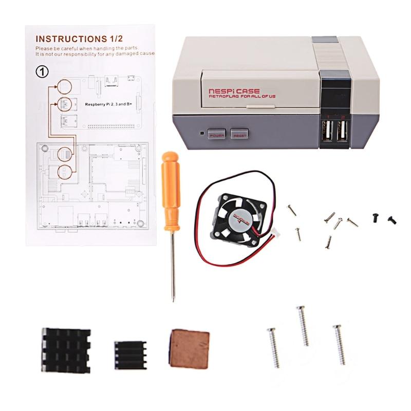 Mini NES NESPI Retro Case PCB Cooling Fan Heatsinks For Raspberry Pi 3 / 2 / B+ acrylic case w cooling fan copper heatsinks set for raspberry pi transparent