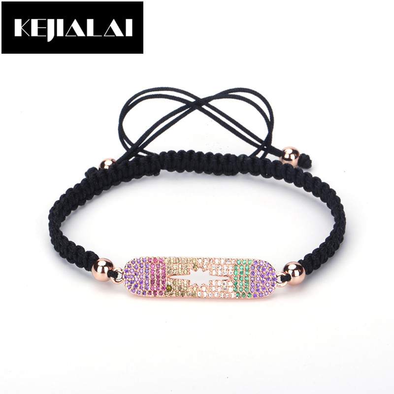 Fashion Trendy Braided Bracelet Long Tube Charm Paved with Colorful Rhinestone Zirconia Crystal Sweet Simple Style for Girl Gift