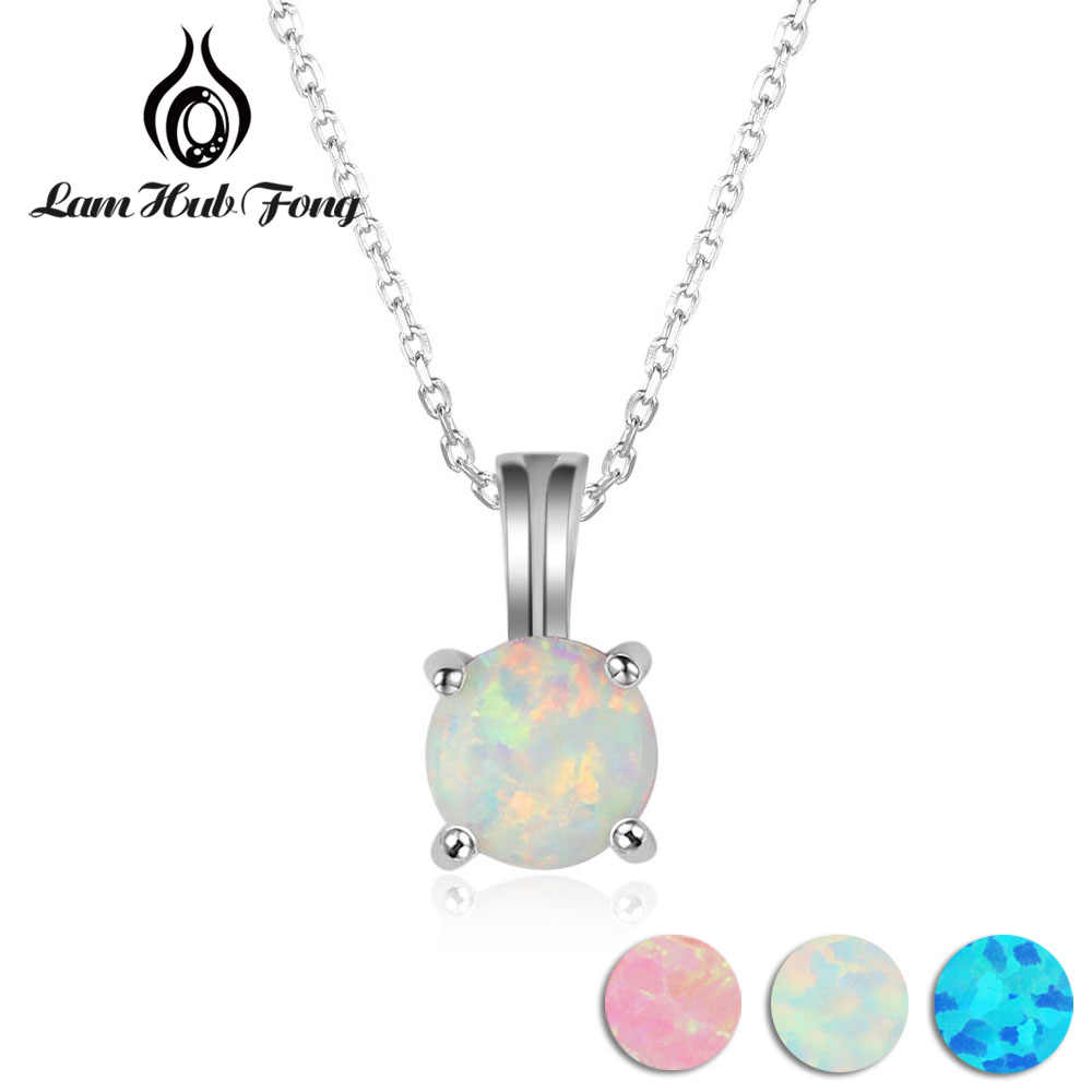 925 Sterling Silver Necklace with 6mm Round White Pink Blue Opal Women Pendant Necklaces Birthday Gift  for Girls (Lam Hub Fong)