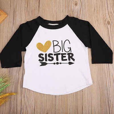 2017 Baby Boy Girl Kids BIG SISTER Cotton Dài Tay Áo T-Shirt Áo Thun Casual Áo