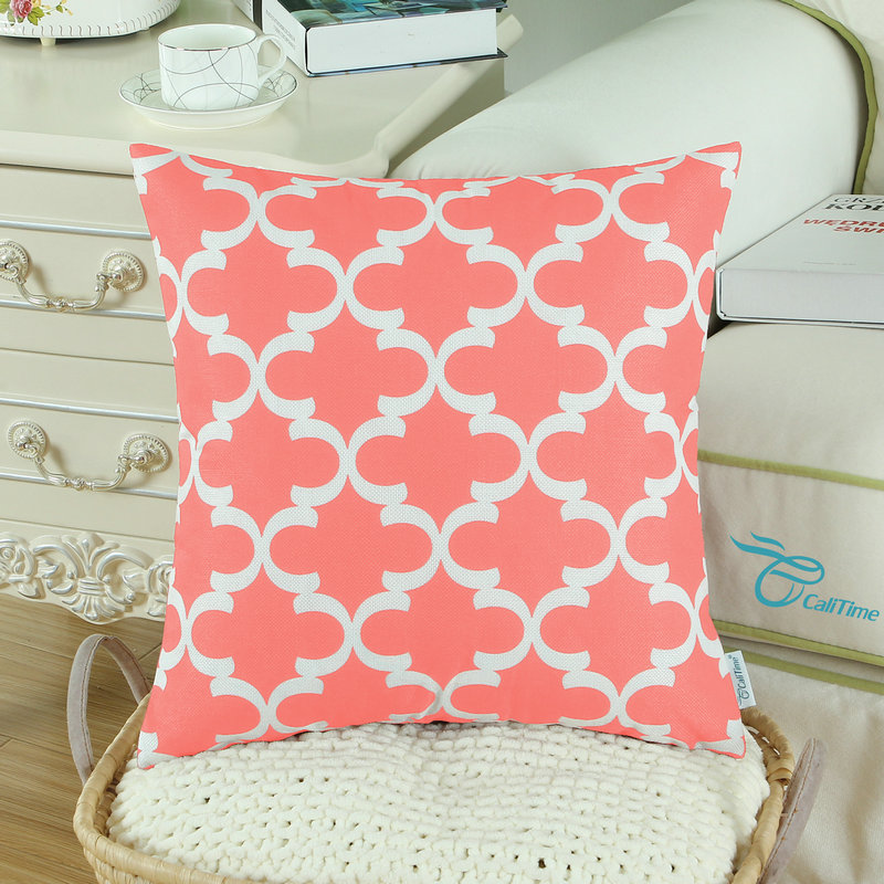2PCS Square CaliTime Cushion Cover Pillows Shell Quatrefoil Accent Geometric Home Sofa Decor 20 X 20(50cm X 50cm) Coral Pink
