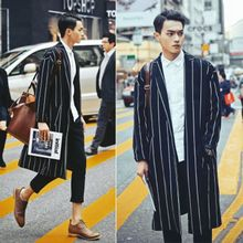Ins windbreaker tide brand autumn and winter large size loose striped long over the knee coat couple casual mens jacket