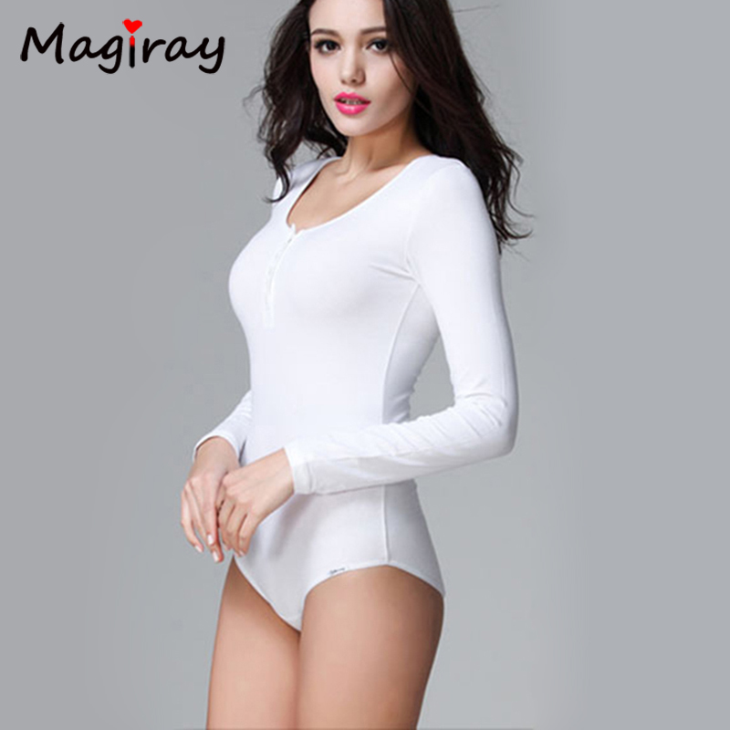 2019 women shirt Slimming Crew Neck Long Sleeve Tops Crotch Bodysuit Basic Solid Color Body Shirt Women Clothes leotard C218