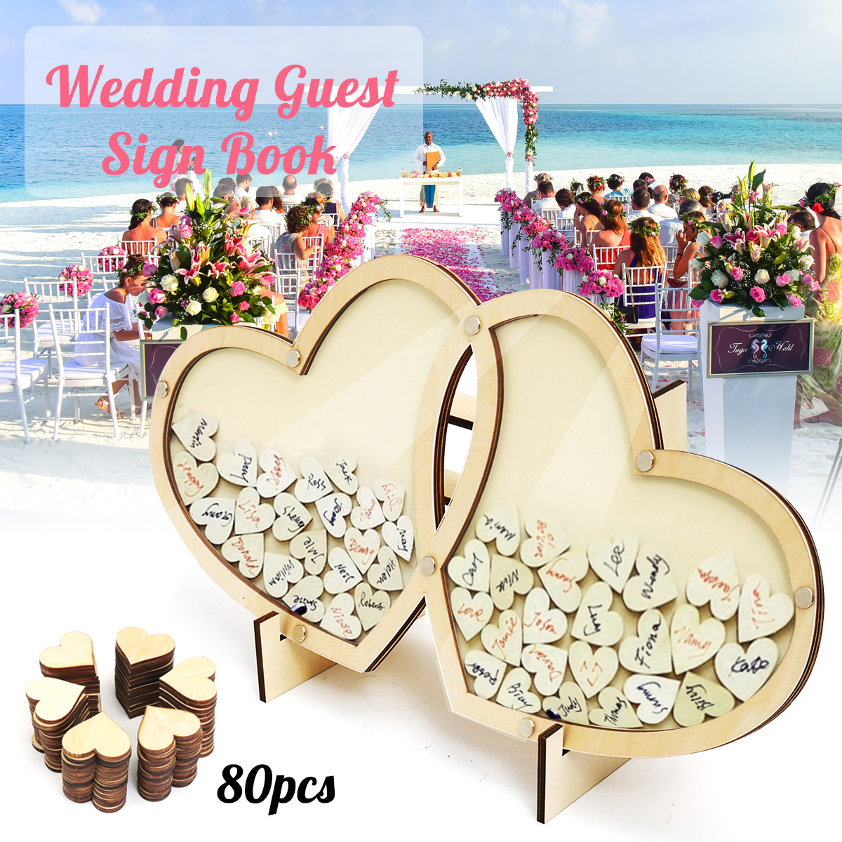 Personalized 3D Hearts Wedding Guest Book Visit Signature Sign Guestbooks Wooden Double Heart Pendant Drop Ornaments Party Decor