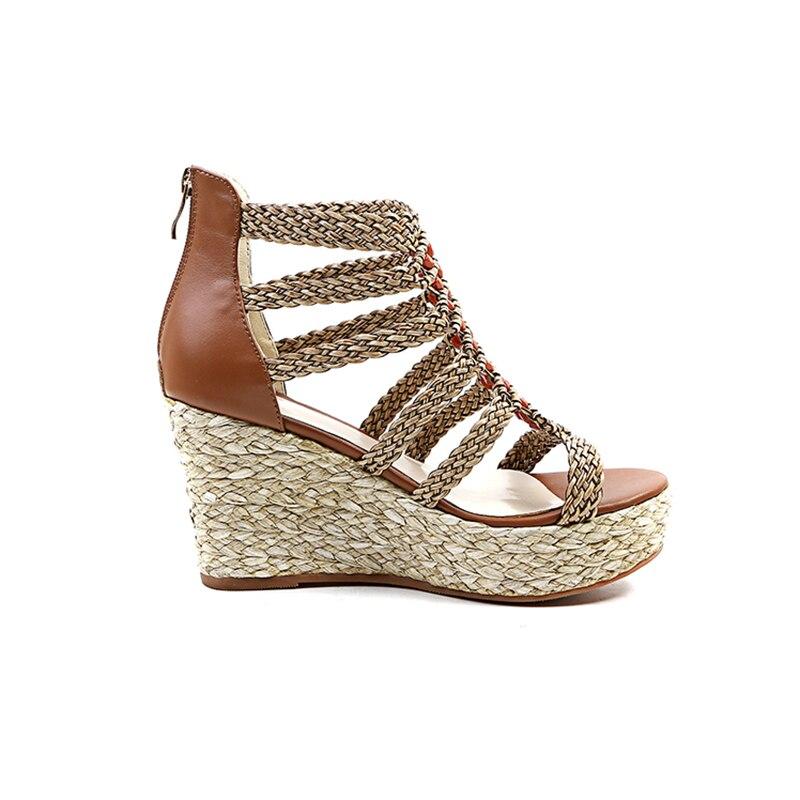 Véritable Gladiateur apricot Talons forme Taille Brown Mode En Coins Plate Furtado Cuir Tirette Arden Femme De Sandales Chaussures 33 D'été Petite 2018 Haute BdCxeo