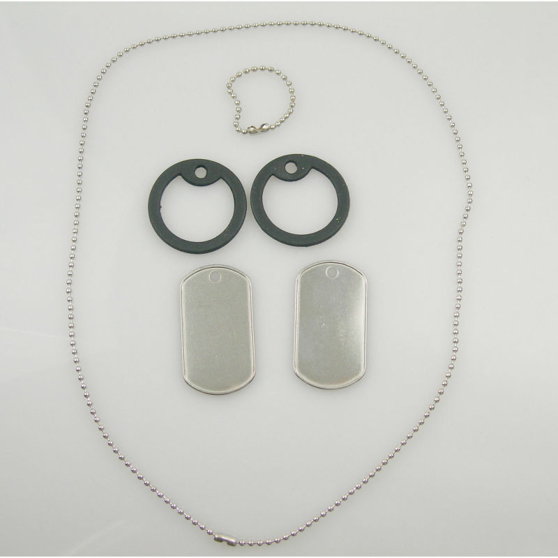 Army Dog Tag Pendant Stainless Steel Dog Tag Rolled Edges Thickness 0.4mm In One Set As Photo Show