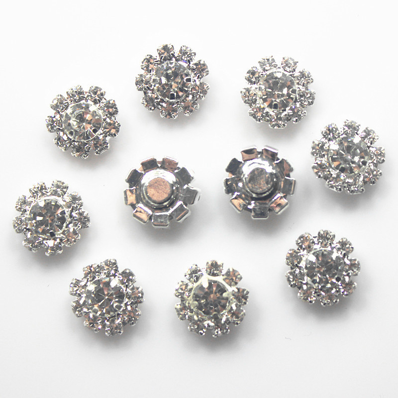 Black /& silver trimmed Diamante flower buttons 12mm shank on back per 5 buttons