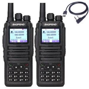 Image 1 - 2 Pcs Baofeng DM 1701 ווקי טוקי הכפול זמן חריץ DMR דיגיטלי Tier1 & 2 נייד רדיו ו sms פונקציה של DM 5R DM 1701 רדיו + USB