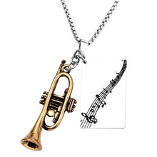 Fashion custom necklace music symbol engrave pendant jewelry gold silver saxophone metal piece necklaces for men women(China)