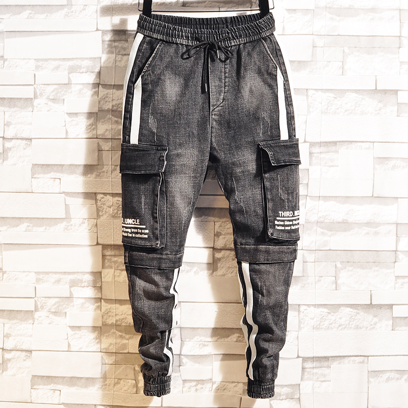 2019 Spring new beamed overalls men's slim Korean version of multi-pocket pants personalized casual long harem pants(China)