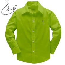 Boys Shirts 2018 Childrens Top Clothing Unisex Shirts 100% Cotton Solid Kids Long Sleeved Geometric Boys Girls Shirts 100 160cm