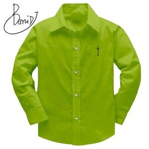 Image 1 - Erkek Gömlek 2018 çocuk Üst Giyim Unisex Gömlek % 100% Pamuk Düz Çocuklar Uzun Kollu Geometrik Boys Kız Gömlek 100 160cm