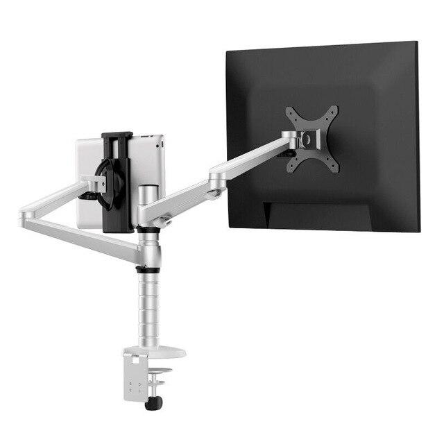 OA-8Z réglable en hauteur Double bras 27 pouces support de moniteur + Double bras tablette PC se dresse 360 degrés bureaux d'ordinateur rotatifs