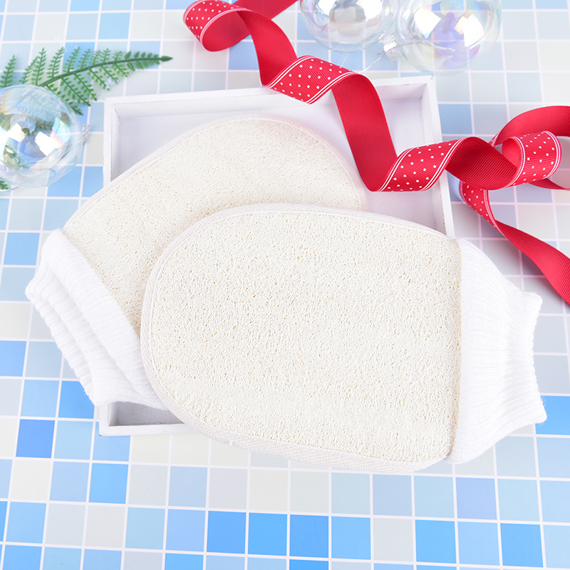1Pc White Exfoliating Tan Removal Loofah Interior Fibrous Shower Thicken Bath Magic Peeling Glove Shower Bath Tools