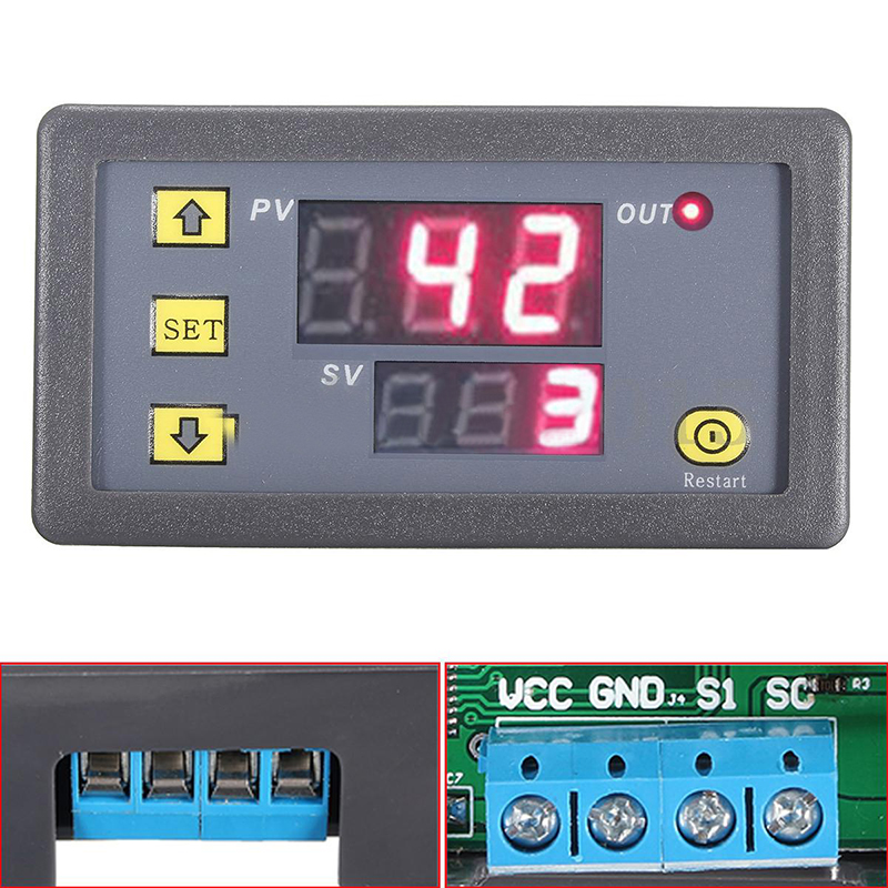 12V Timing Delay Timer Relay Module Digital LED Dual Display Cycle 0-999 Hours for Cycle Intermittent Timing Mayitr dc 12v led display digital delay timer control switch module plc automation new