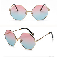Fashion Sunglasses Women Brand Designer Small Frame Polygon Clear Lens Sunglasses Men Vintage Sun Glasses Hexagon Metal Frame Women's Sunglasses