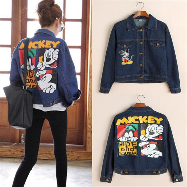 GOPLUS Mickey 3D Print Women Blue Jeans Jackets 2016 Autumn Women's Vintage Cartoon Long Sleeve Denim Jacket Coats Streetwear