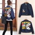 Goplus mickey 3d imprimir mujeres blue jeans chaquetas 2016 mujeres del otoño del vintage de dibujos animados de manga larga chaqueta de mezclilla abrigos streetwear
