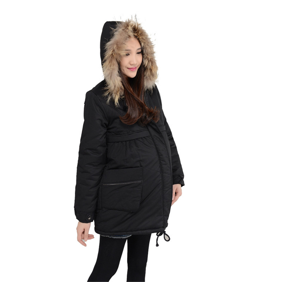 L-2XL Winter Maternity Clothes Maternity Coat Pregnancy Clothes For Pregnant Women Jackets Solid Color Hoodied Coat Three Colors