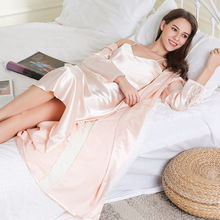 2pcs  Satin Homewear Robe And Gown Sets Night Dress Set Silk Robe 9678