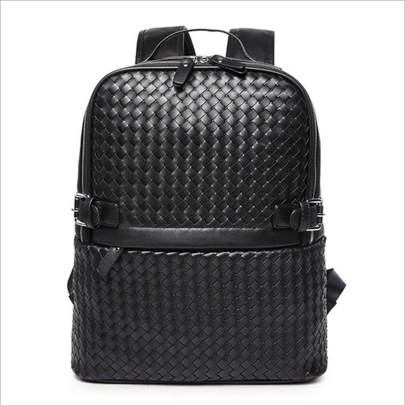 2016 High Quality Male Bag Men Women Travel Bag Microfiber Leather Weave Backpack Fashion Men Laptop