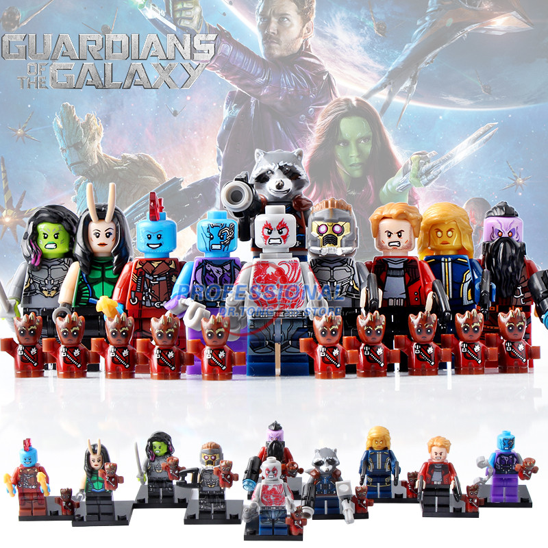 футболка с полной запечаткой printio rocket racoon guardians of the galaxy 10pcs/lot D965 Guardians of the Galaxy Star-Lord Nebula Ayesha Mantis Camora Drax the Destryer Rocket Racoon Building Blocks Toy