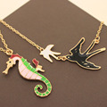 Fashion Candy Color Sea Horse Swallow Bird Necklaces Accessories For Women Girl Jewelry Cute Pendants Collar