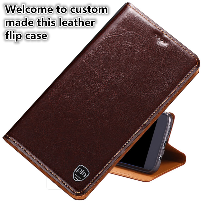 LS04 Genuine Leather Flip Phone Cover For font b OnePlus b font font b 7 b