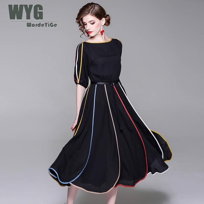 WYG Rainbow Dress Women 2018 Summer Vintage Fashion Boat Collar Short Lantern Sleeve Mid-Calf Length Chiffon Black Tube Dress notch collar lantern sleeve wrap botanical dress