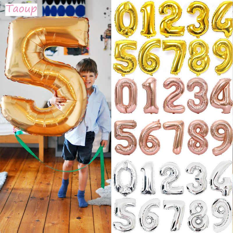 Taoup 1pc 40 polegada figuras folha de ouro rosa grande número balão balão ar float festa de aniversário decoração do miúdo balões de casamento