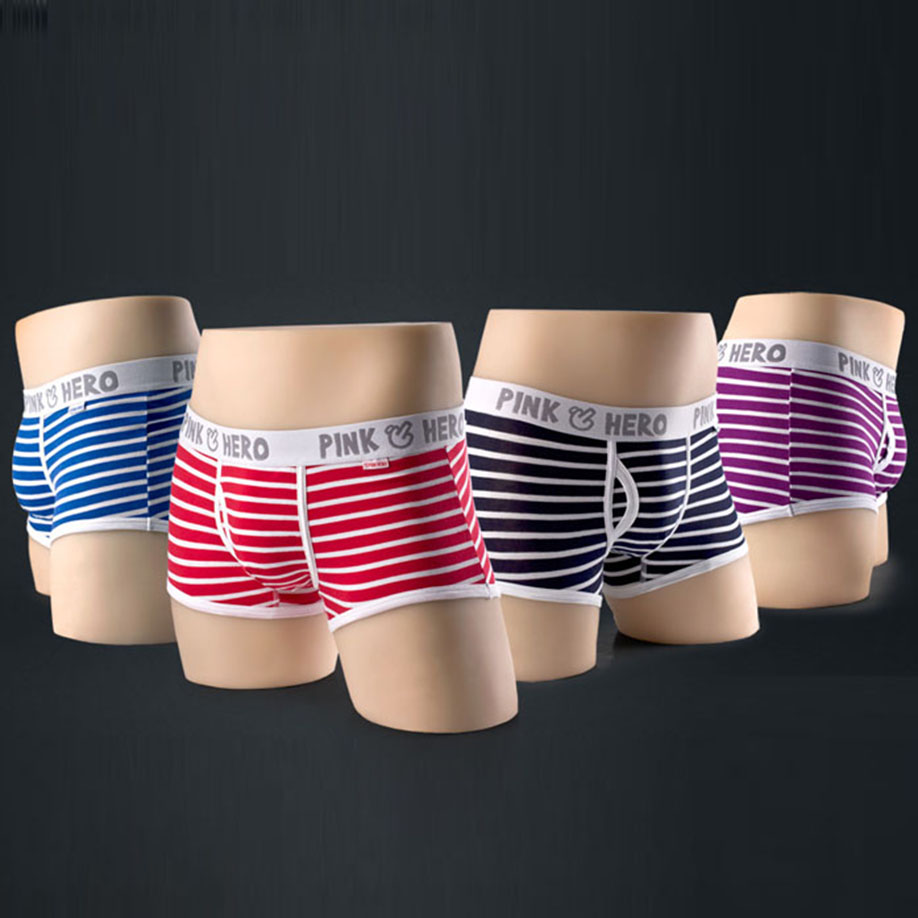 Hot New Fashion Sexy Striped Mens Underwear Boxers Casual High Quality Fringe Underpants For Male Drop Shipping