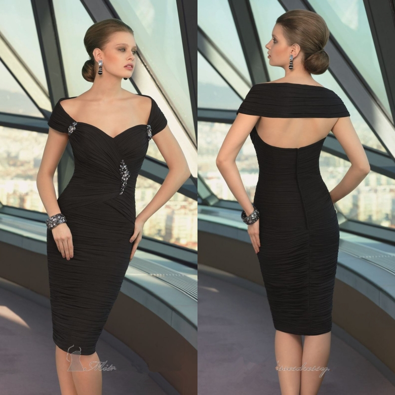 Aliexpress Buy 2014 Black Elegant Chiffon Cap Sleeve