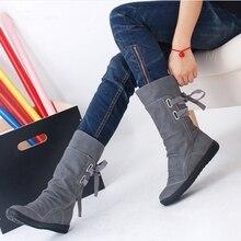 MIUBU Elegant Fashion Women Autumn Winter Boots Mid-Calf Solid Flat With PU Warm Fur Inside Ladies Shoes Big Size 34-43