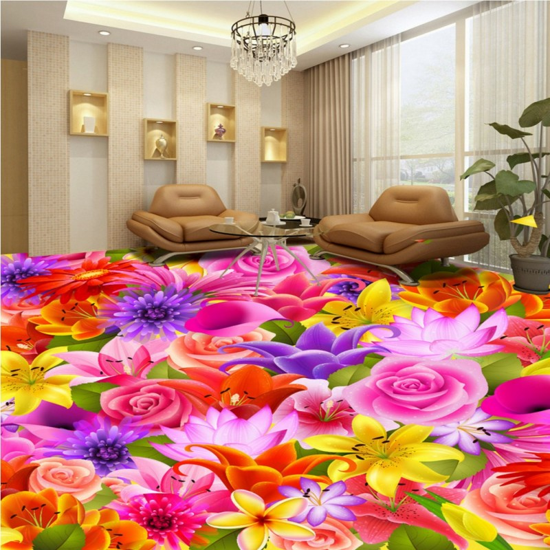 Free Shipping custom Romantic flower living room bedroom 3D floor painting self-adhesive hotel bathroom mural wallpaper free shipping romantic purple petal floor painting 3d flooring custom living room self adhesive photo wallpaper flowers