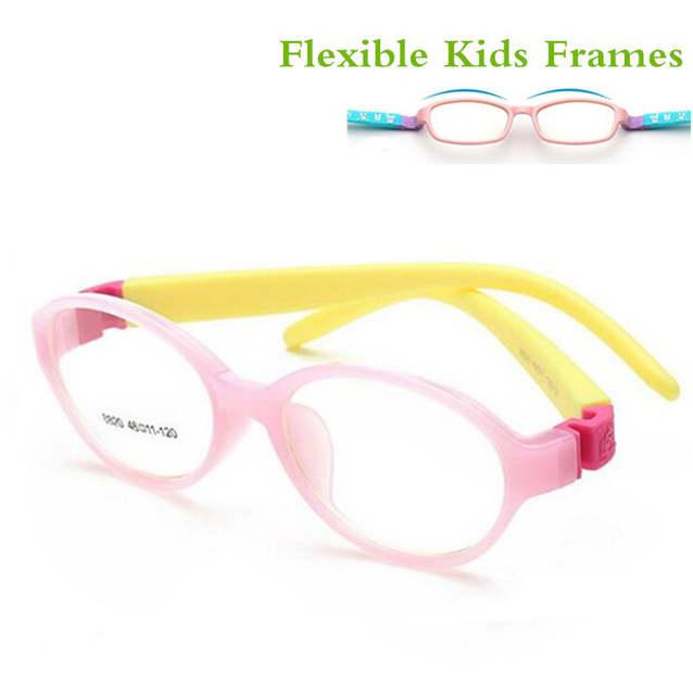 1a5054a03f placeholder 2017 Bendable Round Light Child Glasses frame kids frames  eyewear Flexible TR rubber optical lense No