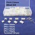 40 conjuntos Kit na caixa 2 p 3 p 4 p 5 pin 2.54mm Passo Terminal/Habitação/Pin Header Conector Conectores de Fio Adaptador XH Kits