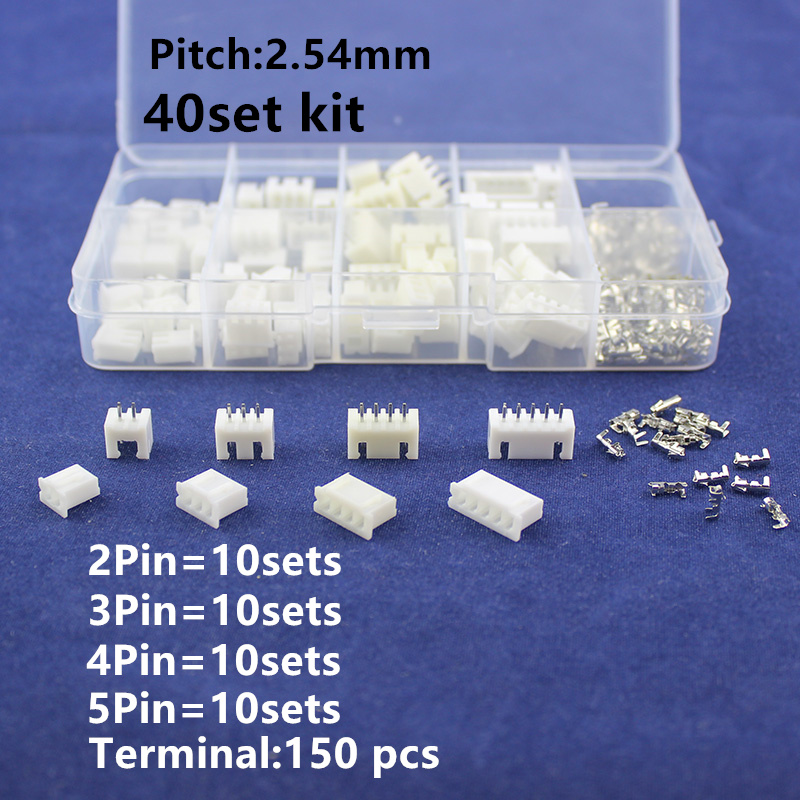40 sets Kit in box 2p 3p 4p 5 pin 2.54mm Pitch Terminal / Housing / Pin Header Connector Wire Connectors Adaptor XH Kits double row dupont kit 1p 2 2 2 3 2 4 2 5 2 6 2 7 2 8 2 9 2 10pin housing plastic shell terminal jumper wire connector set