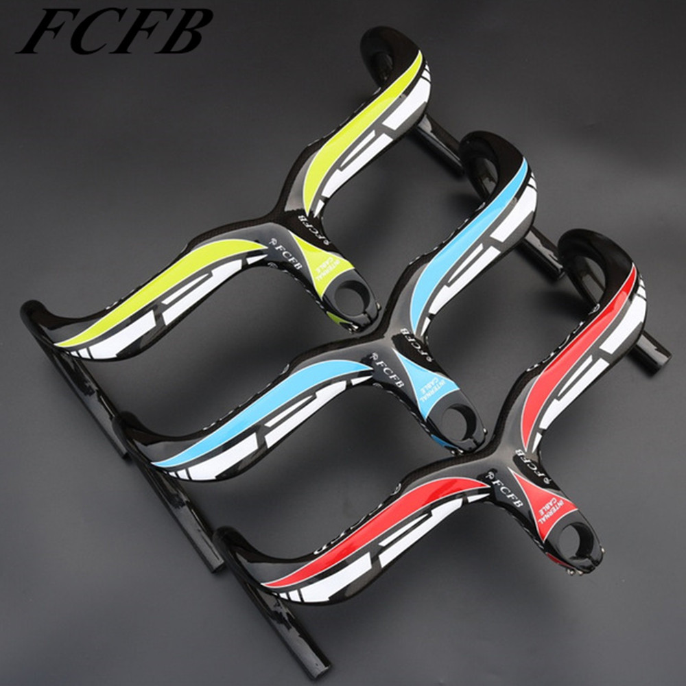 FCFB carbon handlebar  Road Bicycle Integrated Handlebar with stem Carbon  reach 80mm drop 125mm   40/42/44*90/100/110/120MM specials free shipping txch road bicycle integrated handlebar with stem carbon reach 80mm drop 85mm support computer frame
