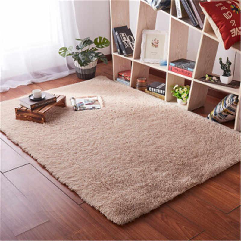 Cabelo comprido estilo Nórdico sala cobertor mesa de café quarto tapete tapete de cabeceira Engrossado lavado seda cabelo não-slip tapete